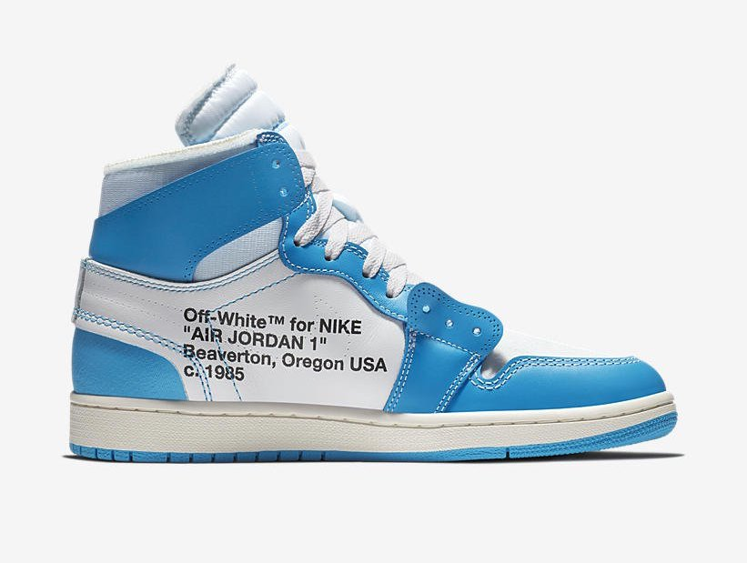 "45aff92450c0 Off-White x Air Jordan 1 ""UNC"" Color  White Dark Powder Blue-Cone Style  Code  AQ0818-148. Release Date  June 19"