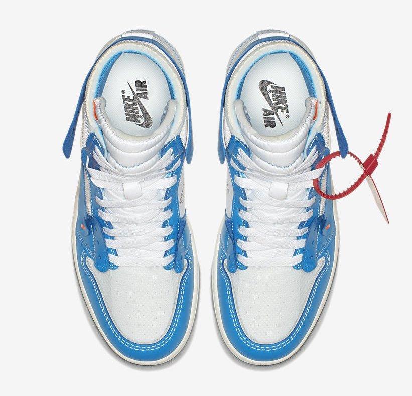 "more photos 3b999 3b72c Off-White x Air Jordan 1 ""UNC"" Color  White Dark Powder Blue-Cone Style  Code  AQ0818-148. Release Date  June 19, 2018. Price   190"