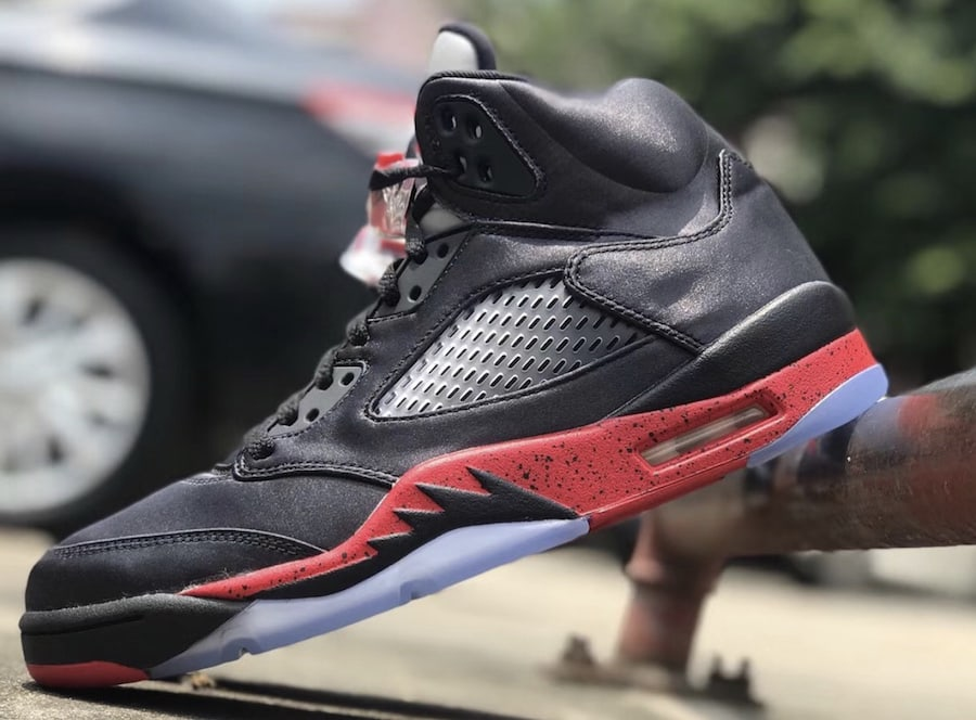 391817c3cff The post The Air Jordan 5 Surfaces in a New Satin Construction and Bred  Colorway appeared first on JustFreshKicks.
