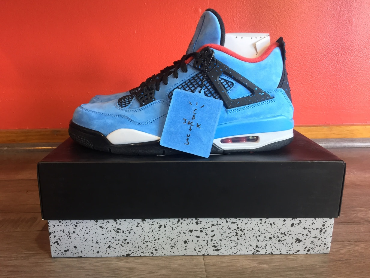 "size 40 f243f 24a8c Travis Scott x Air Jordan 4 ""Houston Oilers"" Release Date  June 9th, 2018.  Price   225. Color  University Blue Varsity Red-Black Style Code  308497-406"