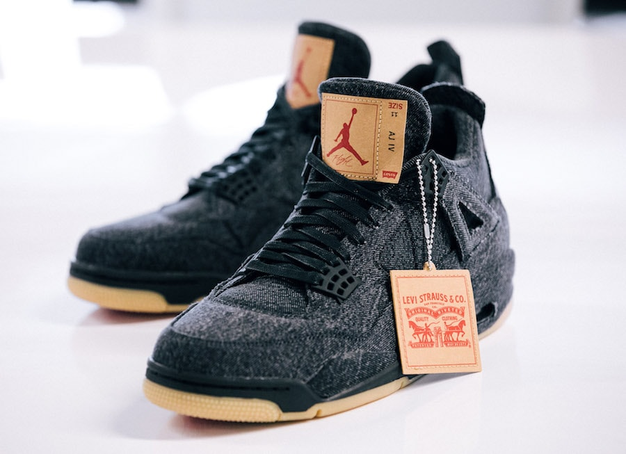 ade55dc6feca Levi s x Air Jordan 4 Black   White Release Info - JustFreshKicks