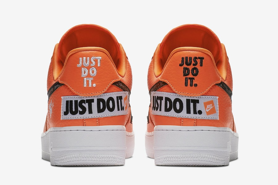 """d3c281bc6cef Nike Air Force 1 Low """"Just Do It"""" Release Date  June 2018. Price   130.  Color  Total Orange Total Orange-Black-White Style Code  AR7719-800"""