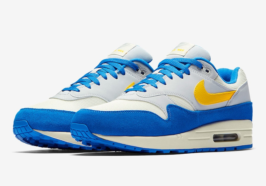 "hot sale online e9625 cfcae Nike Air Max 1 ""Signal Blue"" Release Date  Coming Soon Price   130. Color   Sail Amarillo-Pure Platinum-Signal Blue Style Code  AH8145-108"