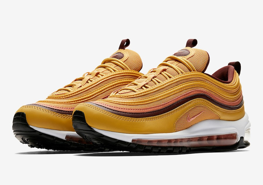 "c52a4462a9ae Nike Air Max 97 ""Gold Rush"" Release Date  Coming Soon Price   160. Color   Wheat Gold Terra Blush-Burgundy Crush Style Code  921733-700"