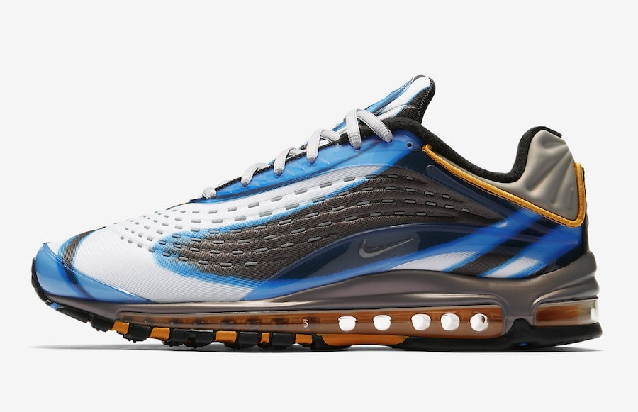 """save off 01b51 8a059 Nike Air Max Deluxe """"Photo Blue"""" Release Date  July 12th, 2018. Price    180. Color  Photo Blue Wolf Grey-Orange Peel-Black Style Code  AJ7831-401"""