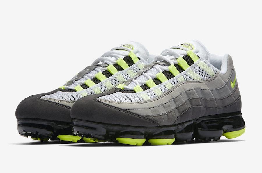 "wholesale dealer 79912 0e258 Nike Air VaporMax 95 OG ""Neon"" Release Date  August 16th, 2018. Price    190. Color  Black Volt-Medium Ash-Dark Pewter-Dust-Granite Style Code   AJ7292-001"