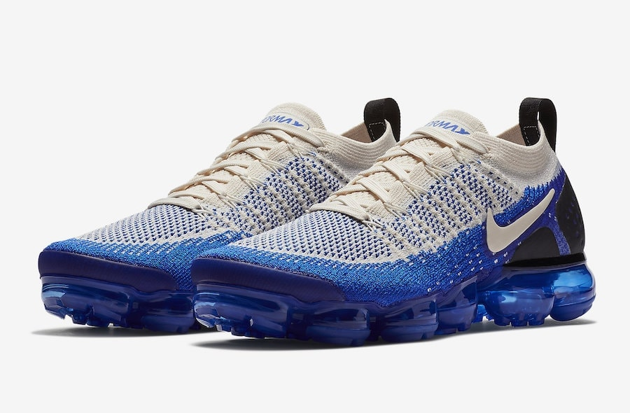 sports shoes 000a5 81d05 Nike Air VaporMax Flyknit 2. Release Date August 2nd, 2018. Price 190.  Color Light CreamWhite-Racer Blue Style Code 942842-204