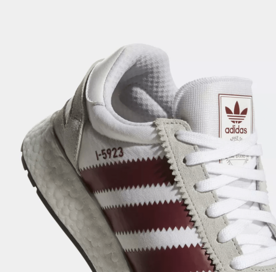 "45b5ec3c420295 adidas I-5923 ""Burgundy"" Release Date  Available Now Price   130. Color  Cloud  White Collegiate Burgundy Grey Style Code  D97231"