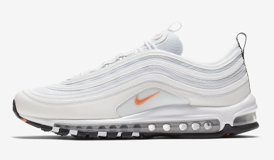 2ae3c5e42d1086 The post Nike s Air Max 97 is Launching in a Clean White Look With orange  Hits for Fall appeared first on JustFreshKicks.