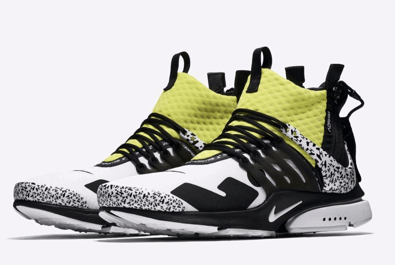 new arrival 9c01b ecfee Acronym x Nike Air Presto Mid Release Date September 20th, 2018. Price  200. Color WhiteDynamic Yellow-Black Color Cool GreyBlack