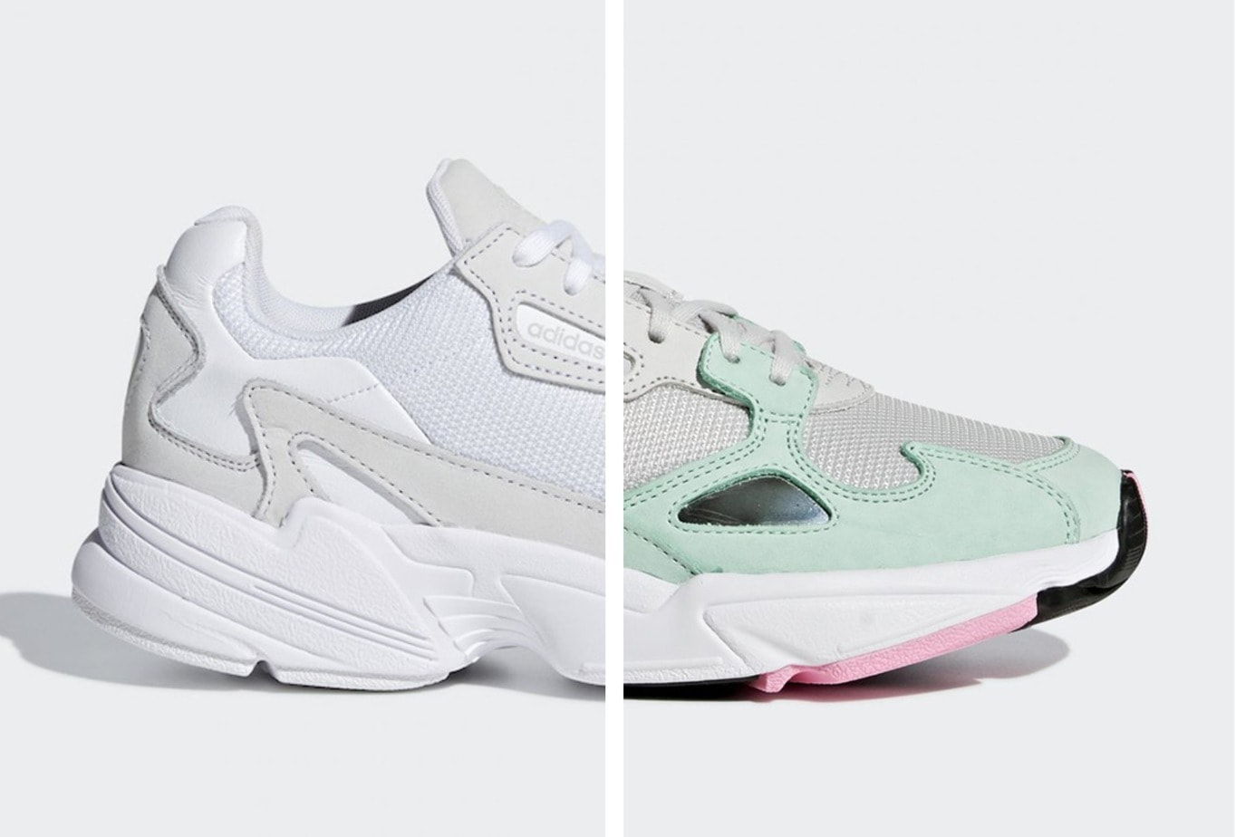 0004701618df adidas Falcon Triple White   Watermelon Release Info - JustFreshKicks