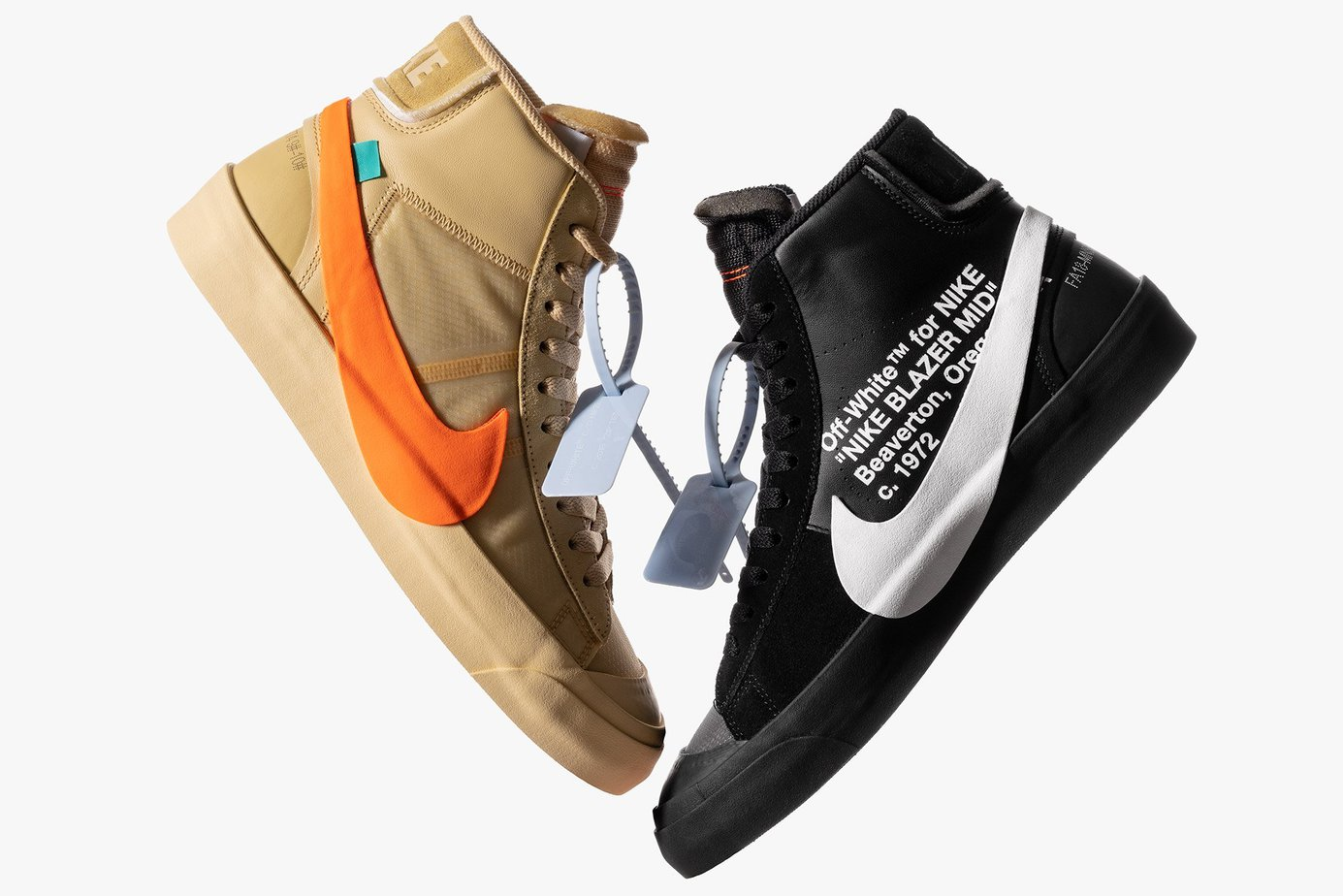 27e798ecd154 OFF-WHITE c o Virgil Abloh and Nike continue their ongoing collaboration  with two Nike Blazer Mid colorways dubbed the Spooky Pack.