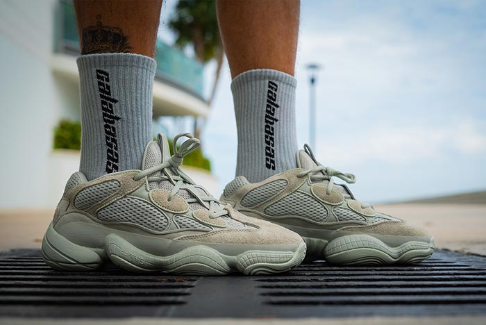 "d2881c940f3 Check Out an Early Look at the adidas Yeezy 500 ""Salt"" On Foot"