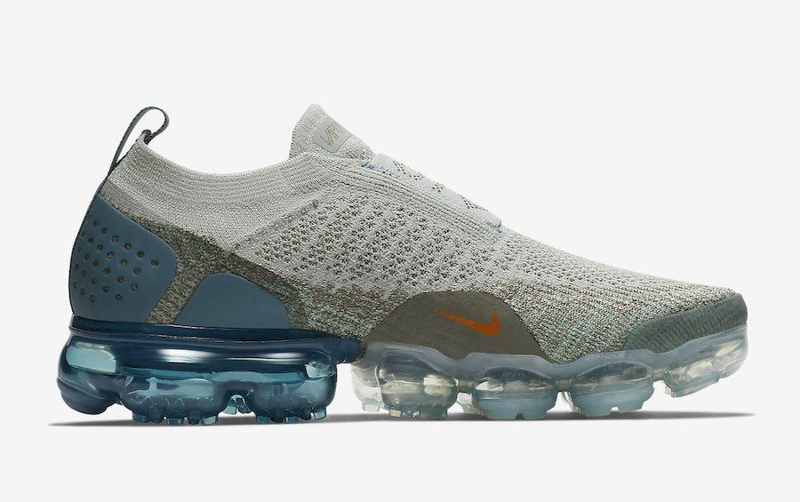 look for 5eb46 21b75 Nike Air VaporMax Moc 2. Release Date  November 1st, 2018. Price   200.  Color  Light Silver Campfire Orange-Dark Stucco-Celestial Teal-Igloo-Green  Glow