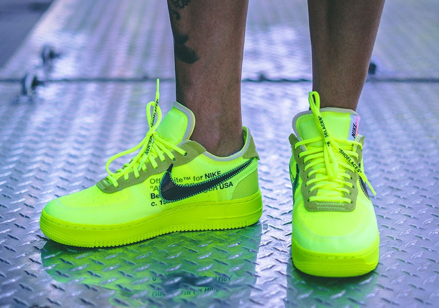 "new style 36c4e 769be Off-White x Nike Air Force 1 Low ""Volt"" Release Date  November 2018. Price    170. Color  Volt Cone-Black-Hyper Jade Style Code  AO4606-700"