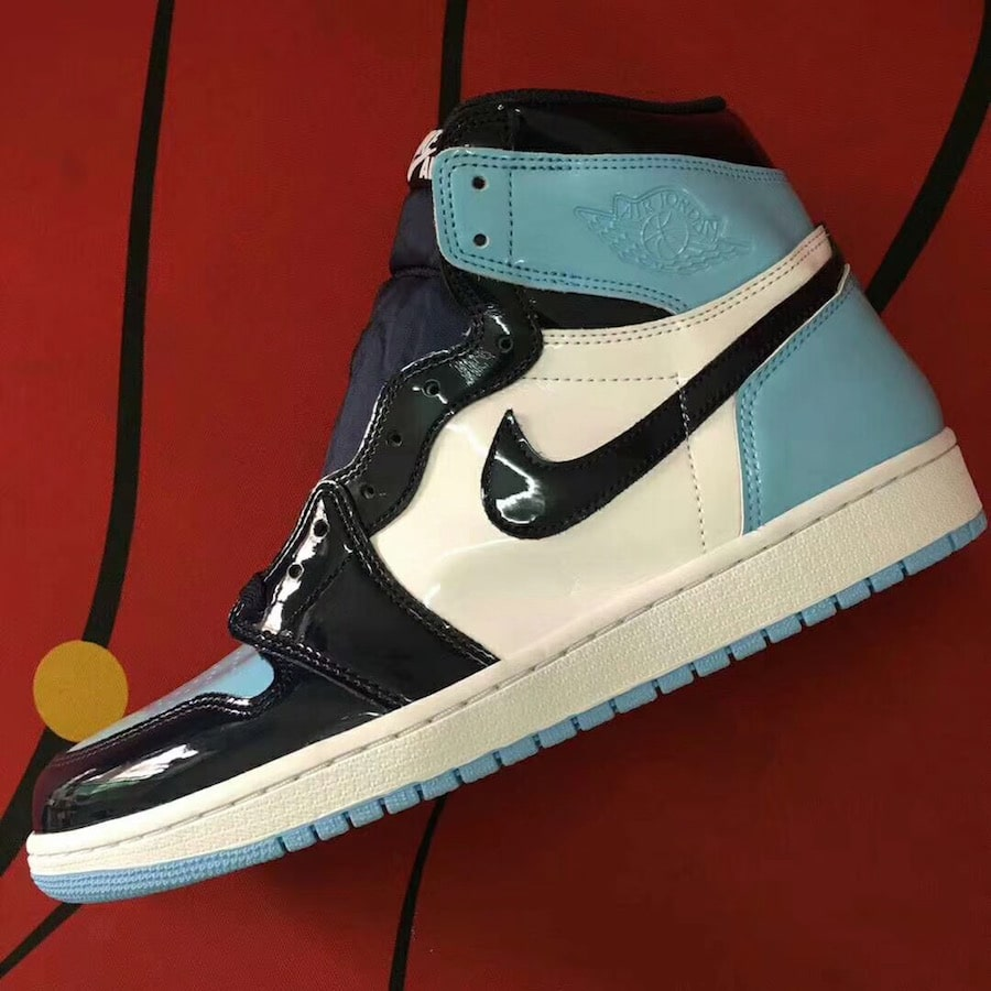 The Air Jordan 1 High Surfaces In Baby Blue Patent Leather Air