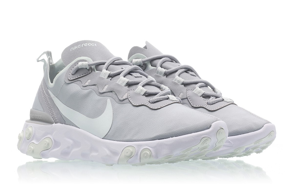 best service 961b9 7aa81 With a handful of models readily available, the Swoosh is ready to  introduce their Element 55 in a new Wolf Grey look. Nike React ...