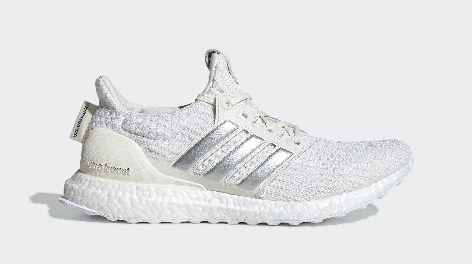 "0700331fb1f GOT x adidas W Ultra Boost ""House Targaryen"" Off White Silver Metallic Core  Black March 22"