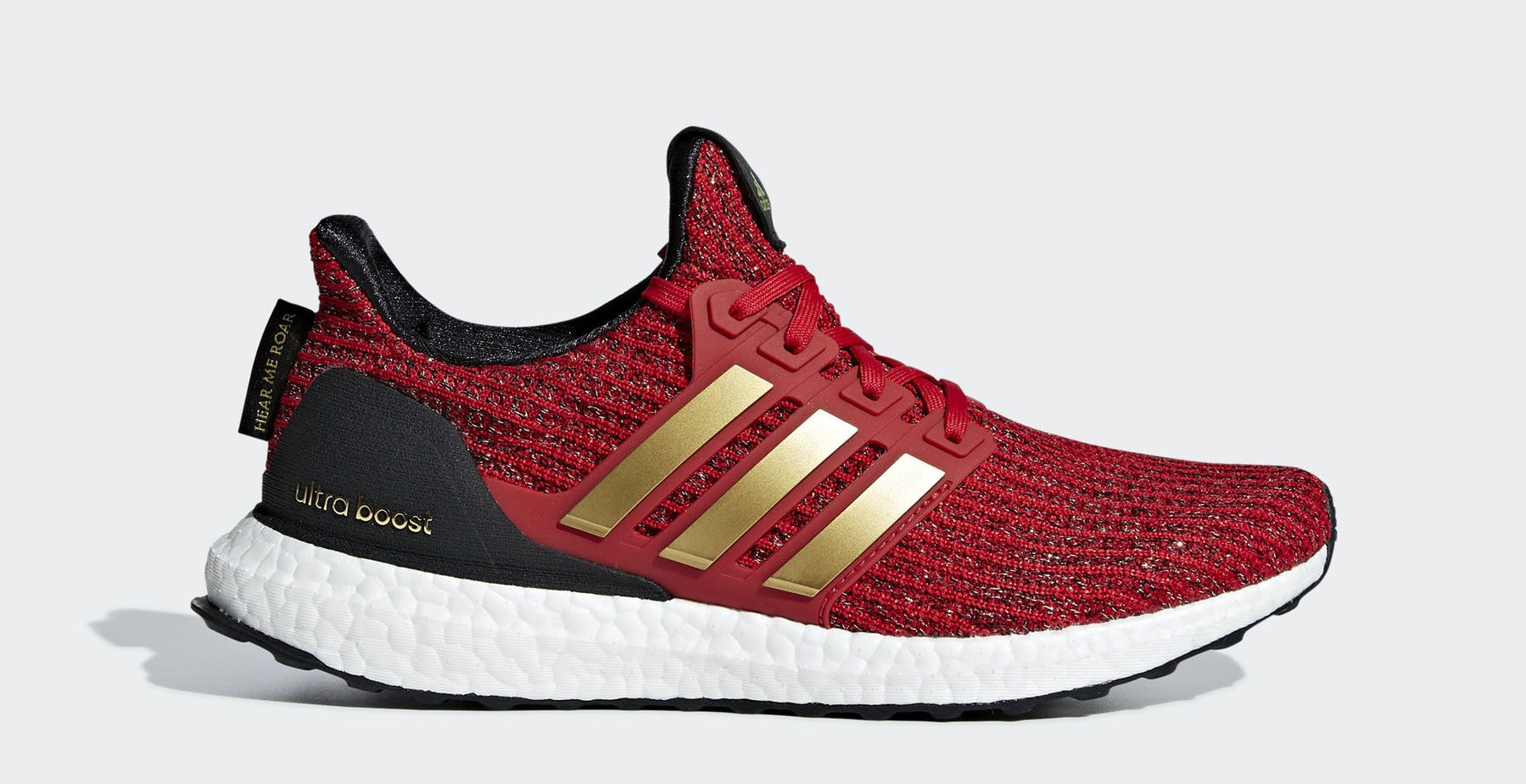 "aff12ba6030f1 GOT x adidas Ultra Boost ""Lannister"" Scarlet Gold Metallic Core Black March  22"