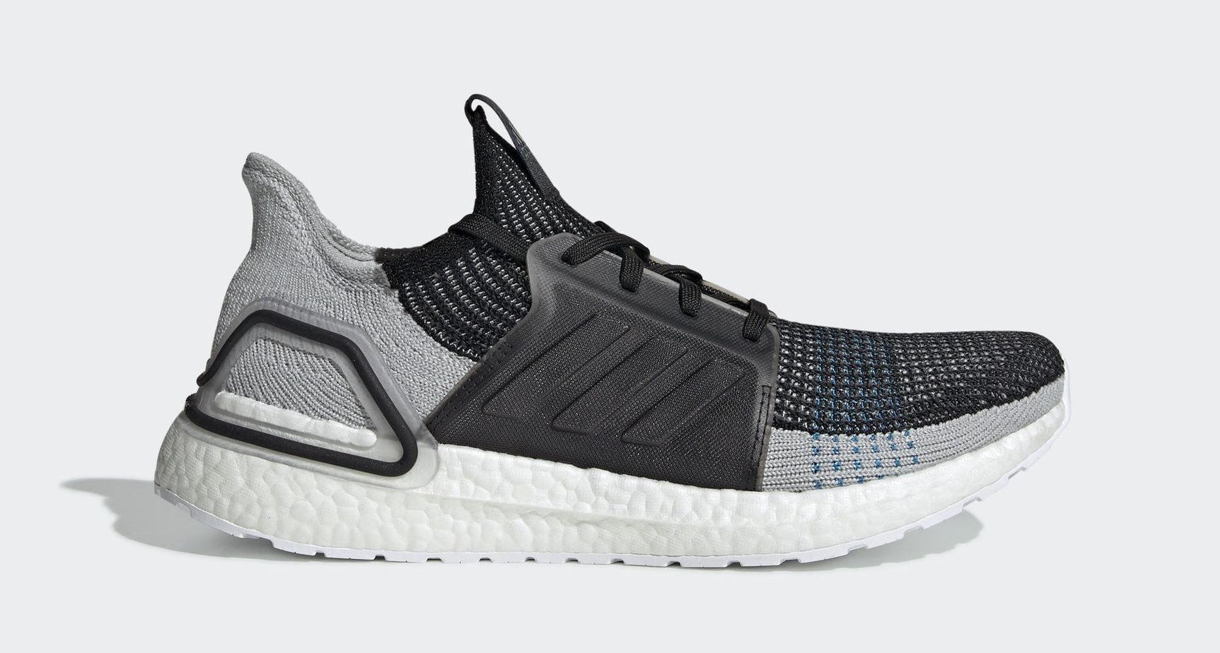 "adidas Ultra Boost 19 ""Black Grey"" Core Black Grey Six Shock Cyan Release  Date  2019 a7b9a43e3"