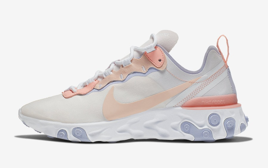 pretty nice fb815 4277e Nike WMNS React Element 55. Release Date Coming Soon Price 130. Color Pale  PinkWashed Coral-Oxygen Purple Style Code BQ2728-601