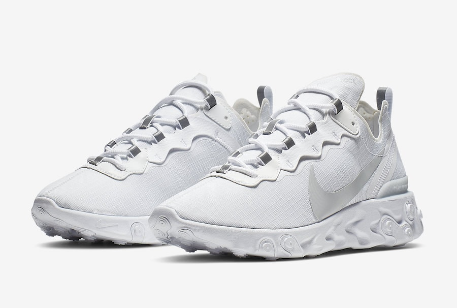 97055ae802437 Nike s React Element 55 Finally Surfaces in a Plain Triple White Colorway