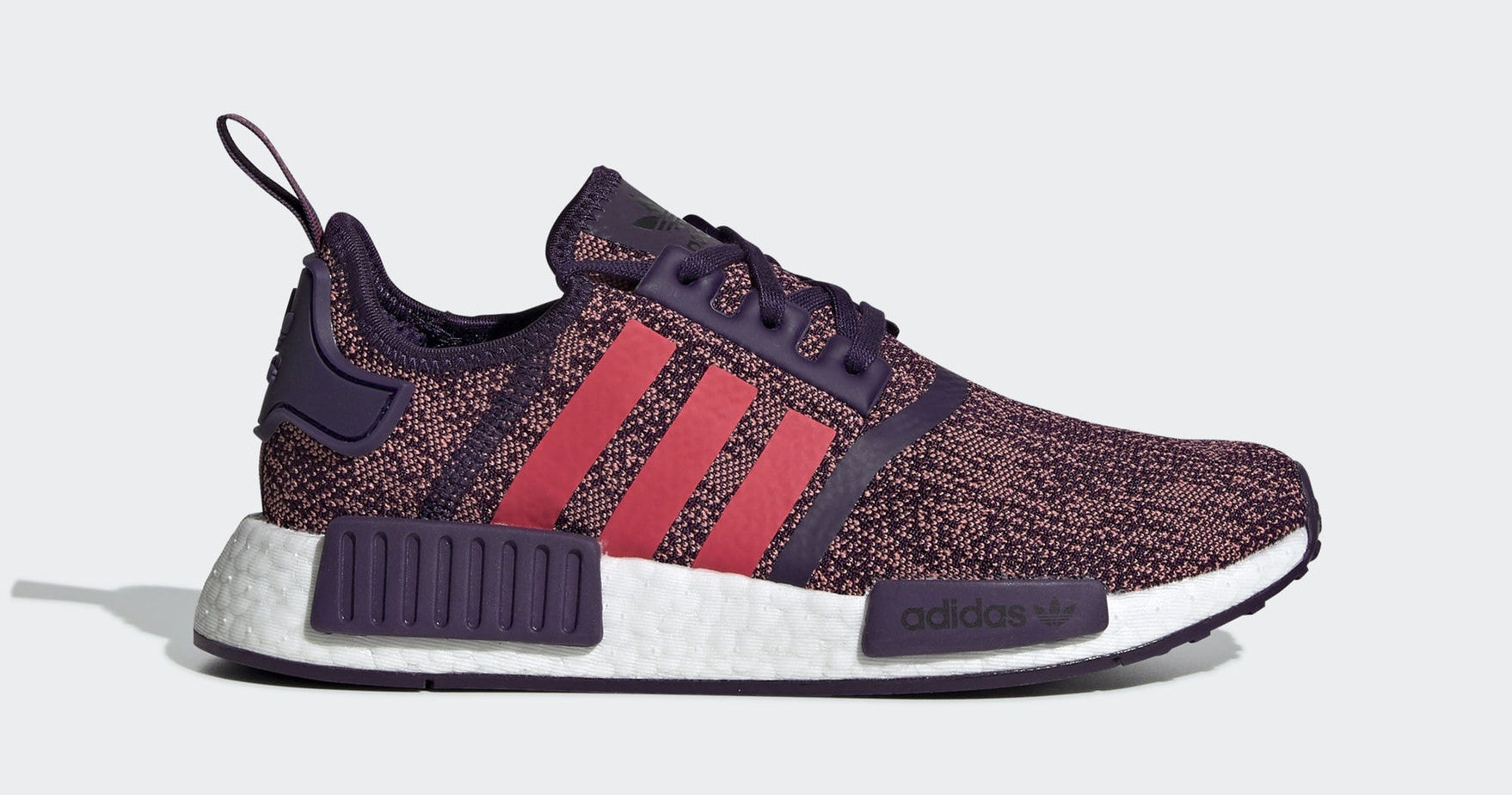 "c2f7de04425 Kid s adidas NMD R1 ""Shock Red"" Legend Purple Shock Red Core Black March 1"