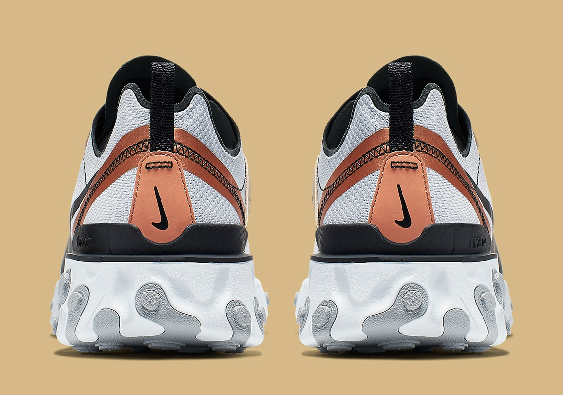 """buy online 97924 752c5 The post """"Pure Platinum"""" Takes Over the Nike React Element 55 With Gold  Accents appeared first on JustFreshKicks."""