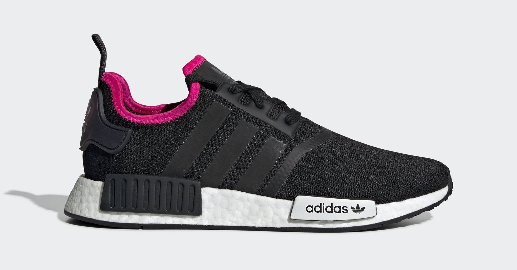"41f7e261d0601 adidas NMD R1 ""Black Shock Pink"" Core Black Core Black Shock Pink April 1"