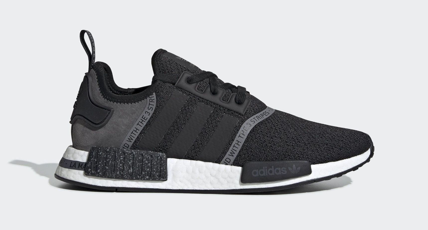 "f33da7453 adidas NMD R1 ""Grey Speckle"" Core Black Core Black Grey Four April 4"