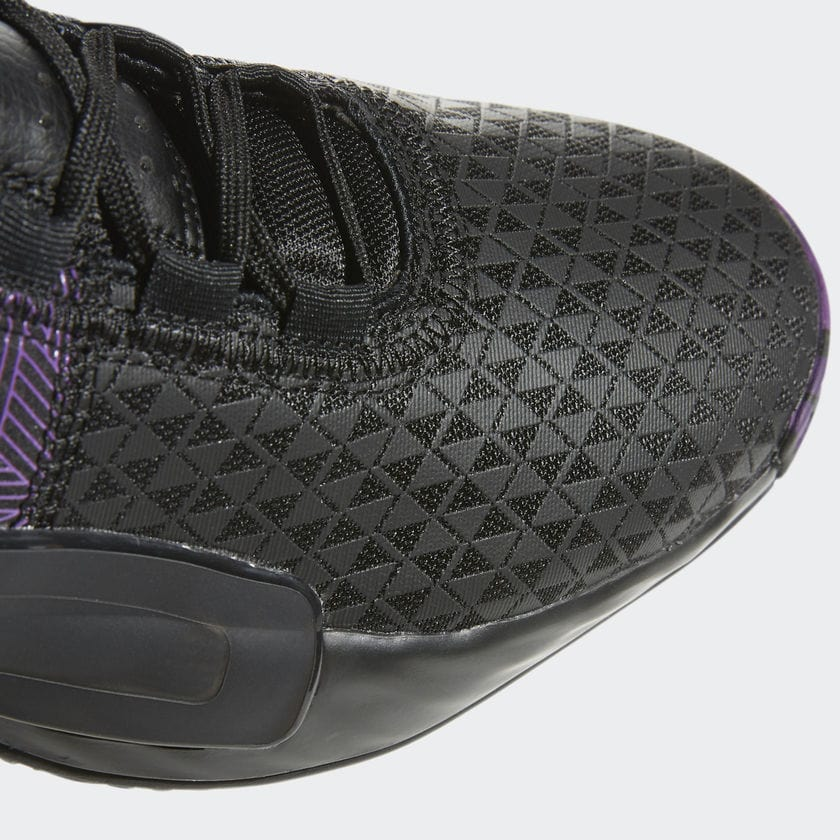 "wholesale dealer f178b 6b573 Marvel x adidas Dame 5 ""Black Panther"" Release Date  April 26th 2019.  Price   125 USD Color  Core Black Action Purple-Silver Metallic Style Code   EF2259"
