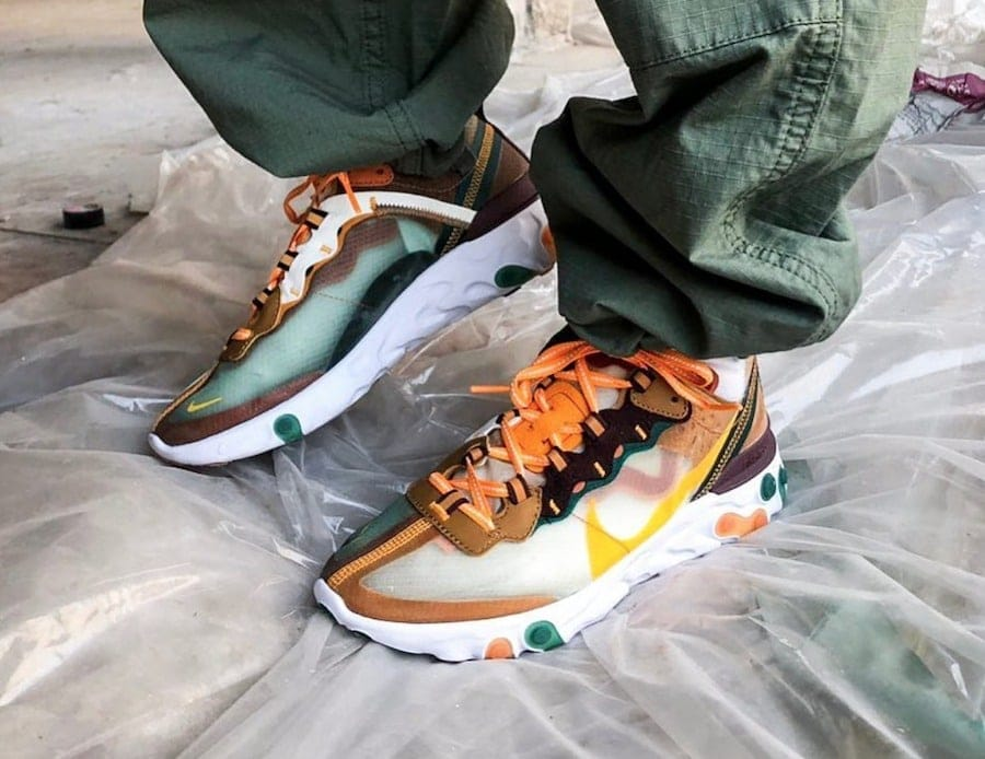 hot sale online 2abd3 fa639 First Look at a New Nike React Element 87 that is Highlighted with Orange  and Yellow