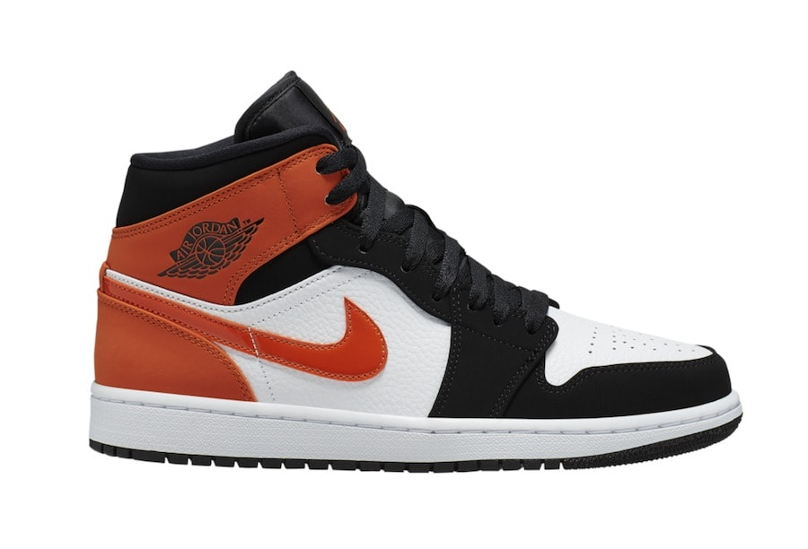 "5d21914005c7 Air Jordan 1 Mid ""Shattered Backboard"" Release Date  TBA Price   110.  Color  Black Starfish-White Style Code  554724-058"