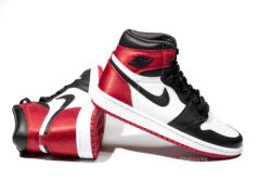 "5d2ddb29ad7e8f The Satin Air Jordan 1 High ""Black Toe"" Receives a Tentative August Release."