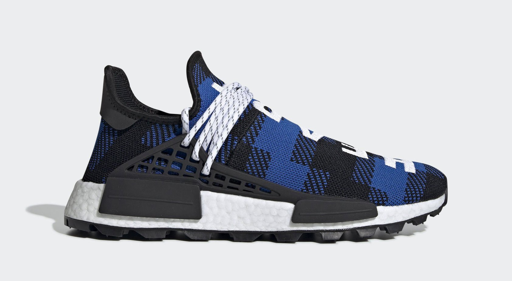 "052b62525d849 AVAILABLE NOW. BBC x Pharrell x adidas Hu NMD ""Blue Plaid"" Power Blue Core  Black Cloud White May 3"