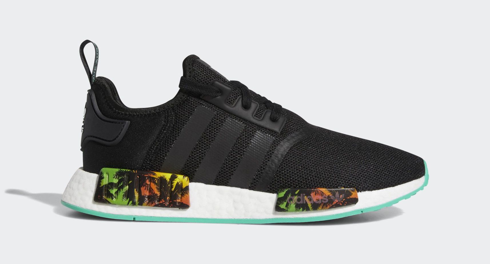 "018522517 adidas NMD R1 ""Palm Trees"" Core Black Hi-Res Green Blue May 1"
