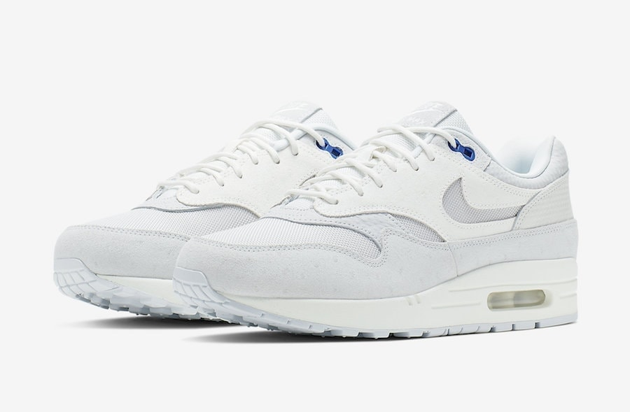 new concept 74680 91bd3 Nike Air Max 1 Premium in Pure Platinum and Racer Blue Just Became Available