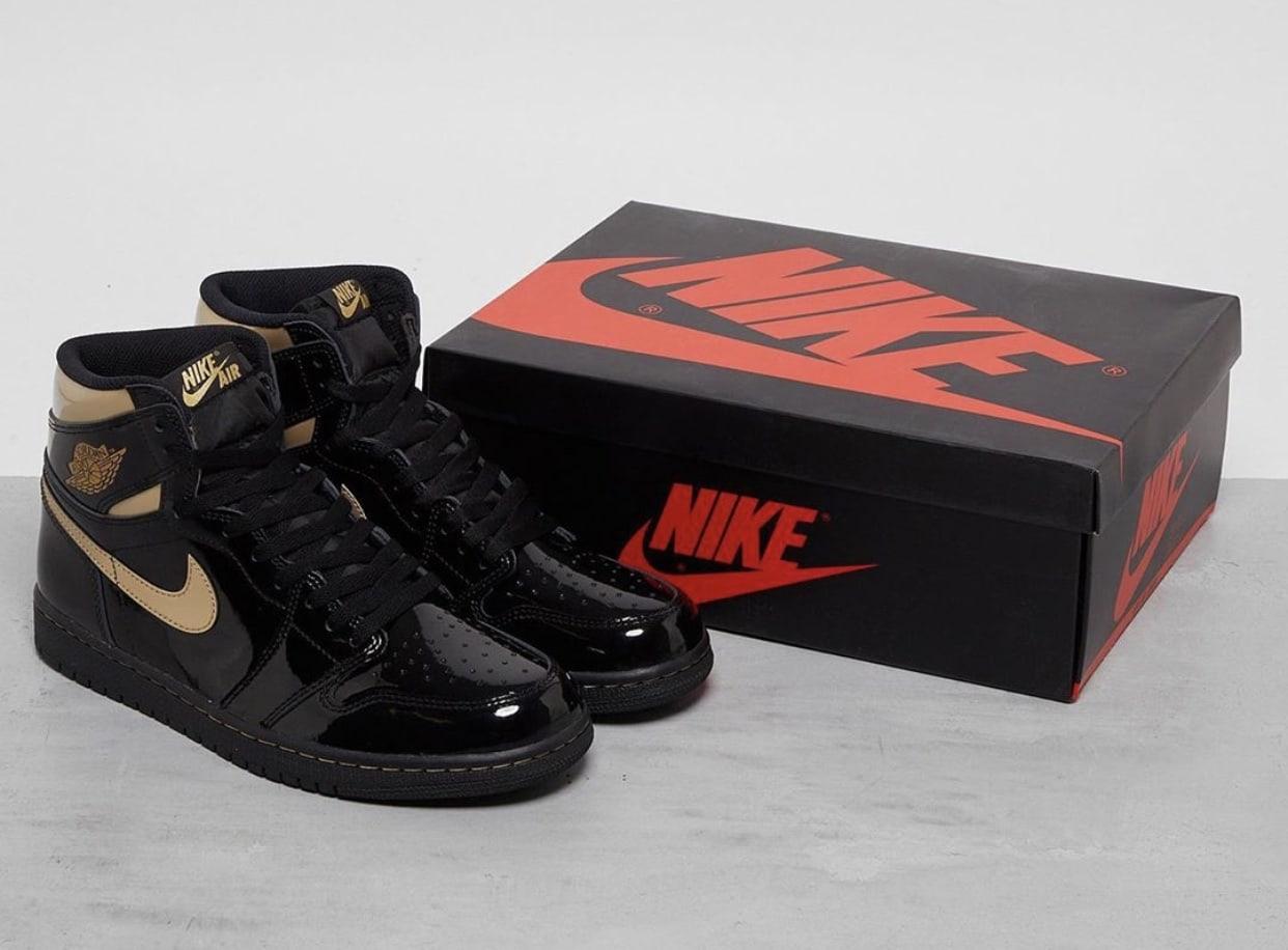 "The Air Jordan 1 High OG Patent ""Black Gold"" Releases Cyber Monday"