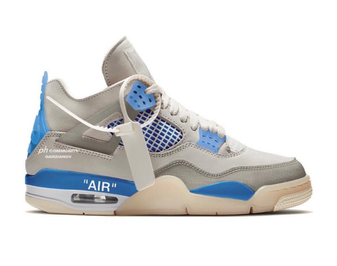 """First Look: Off-White x Air Jordan 4 """"Military Blue"""""""