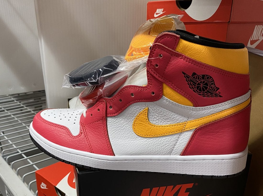 """In-Hand Images of the Air Jordan 1 High """"Light Fusion Red"""""""