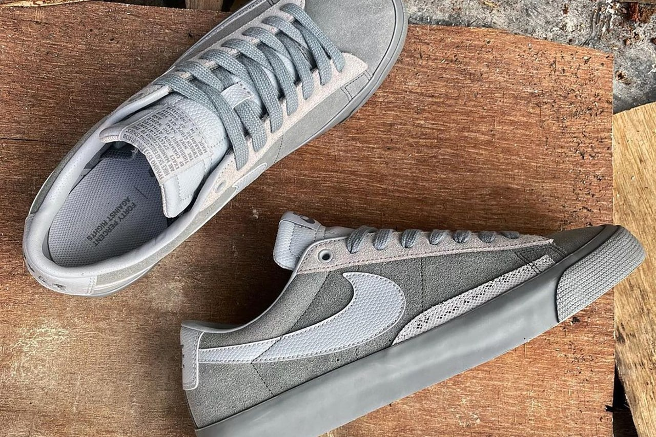 Forty Percent Against Rights Decks out the Nike SB Blazer Low in Grey