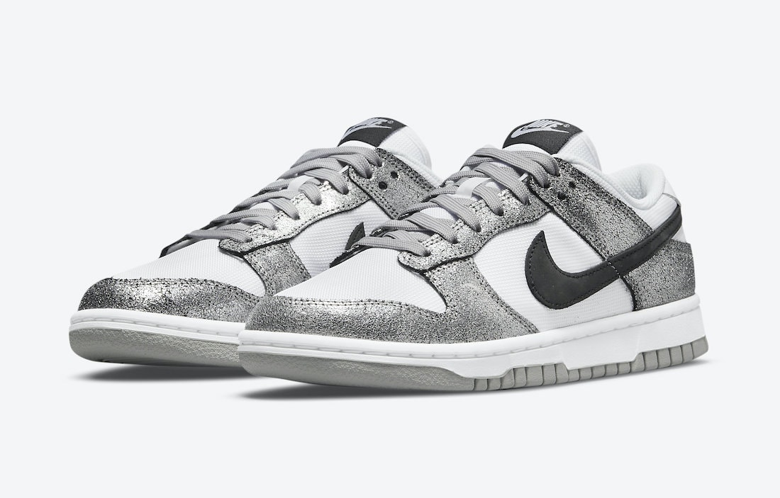Silver Cracked Leather Covers the Newest Nike Dunk Low