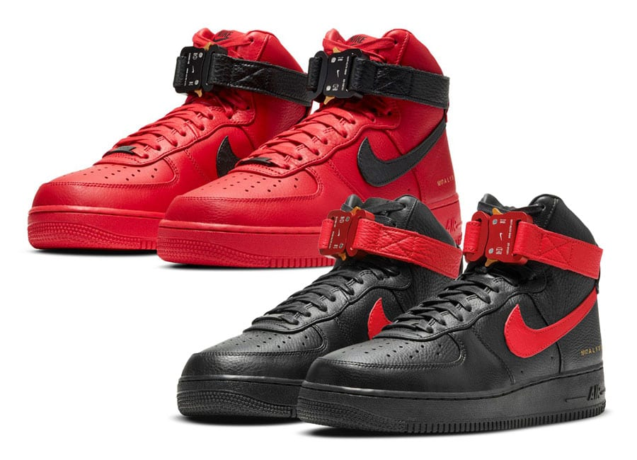 1017 ALYX 9SM's Cobra Buckle Nike Air Force 1 Returns in Matching Red and Black Color Schemes
